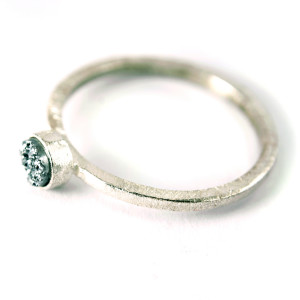silver stacking stardust ring