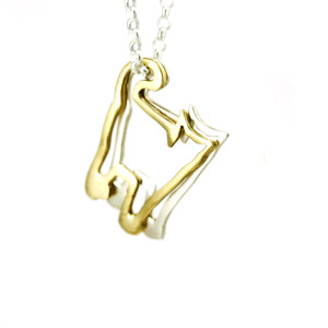 silver gold cat necklace