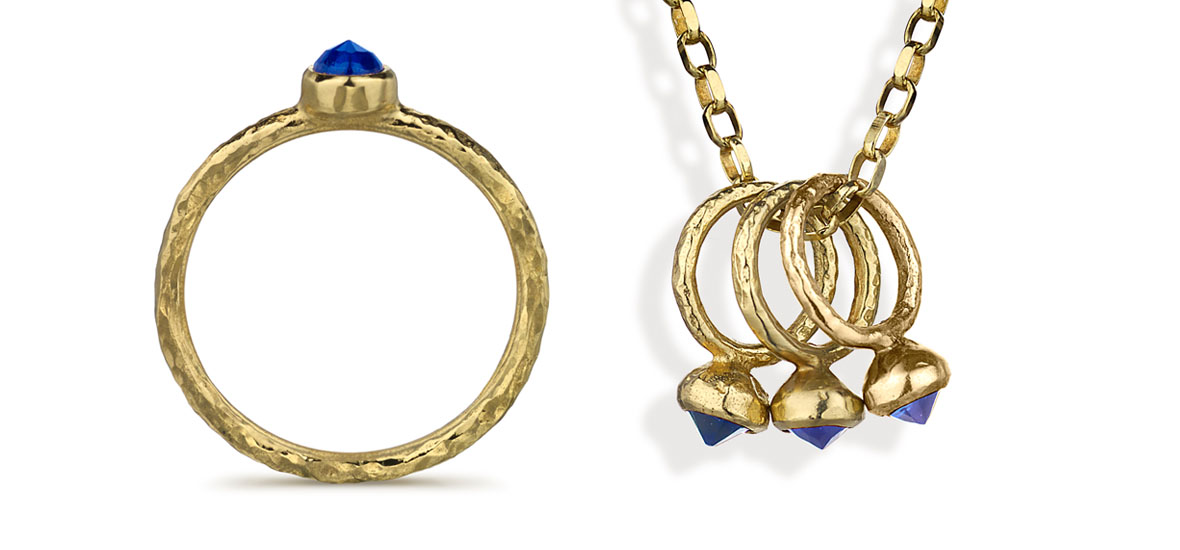 Ancient Sapphires ring and charm necklace