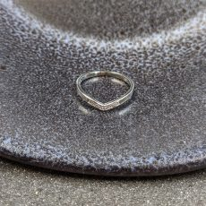 Platinum Wishbone Shaped Wedding Ring with Diamonds-5